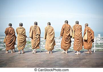 Grop of Monks at Hin Lek Fai, Hua Hin Thailand
