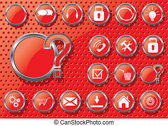 Set of vector buttons with web icon