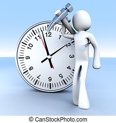 Working time - A cartoon figure with a clock 3D rendered...