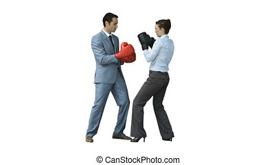 Coworkers in slow motion boxing together