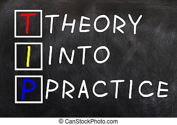 Acronym of TIP for Theory into Practice written on a...