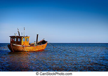 Fishing Boat - Fishing boat floating on the water, blue sea...