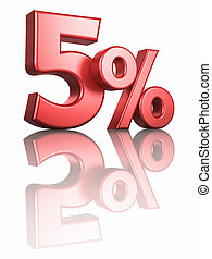 Glossy Red Five Percent - Glossy red five percent on white...