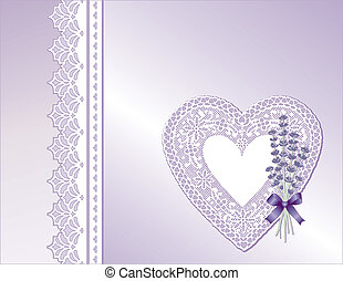 Lace Heart, Satin, Lavender Flowers
