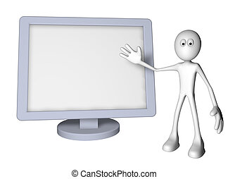 flatscreen - white guy and flatscreen monitor - 3d...