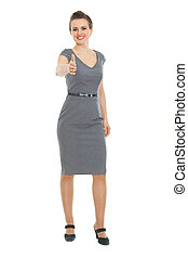 Modern business woman stretching hand for handshake