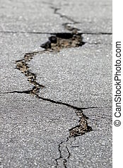 crack in the street - close up of a crack in the street