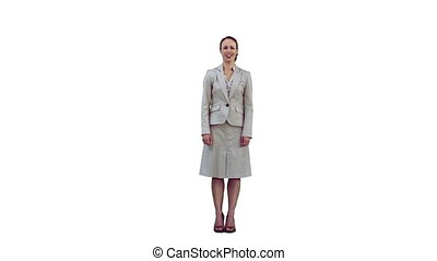 Woman in slow motion shouting against a white background