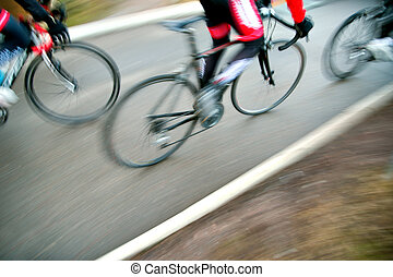 Racing cyclists - High angle view of racing bicycles in...