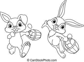 Bunny Hiding Eggs coloring page - Cute Easter Bunny Hiding...