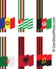Ribbons with flags - Symbols of statehood colors and flags...