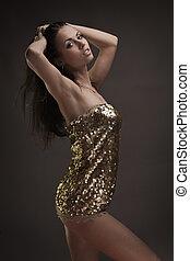 Gorgeous brunette woman dancing - Portrait of gorgeous...