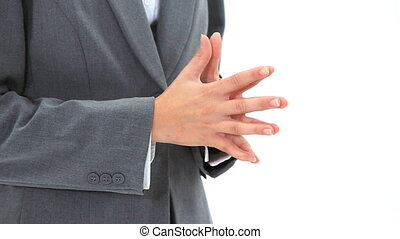Hands being joined against a white background
