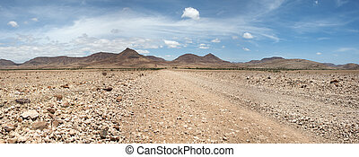 Kaokoland game reserve in Namibia - Surreal panorama of the...
