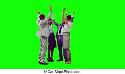 Business team in slow motion applauding against a green...