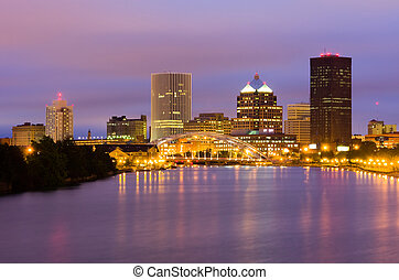Rochester, New York State - Office buildings along the river...