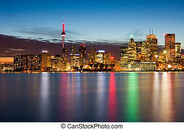 Toronto Canada - Skyscrapers in downtown Toronto at night