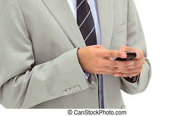 Happy man sending a text against a white background
