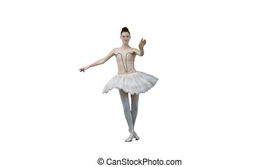 Ballerina dancing in slow motion against a white background
