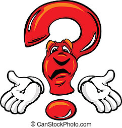 Confused Cartoon Question Mark with Hands - Cartoon Question...