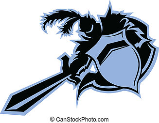 Black Knight Warrior Mascot with Sword and Shield Vector...