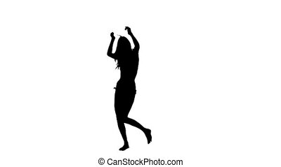 Silhouette woman dancing in slow motion