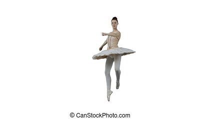 Ballerina moving in slow motion against a white background