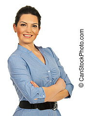 Happy executive woman standing with arms folded isolated on...