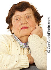 Close up of elderly woman face