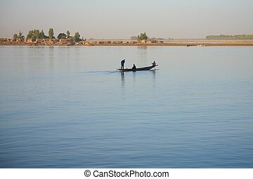 Riverscene on the Niger - Romantic atmosphere at river Niger...