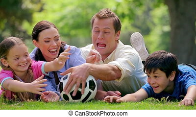 Smiling family trying to catch a soccer ball while lying in...