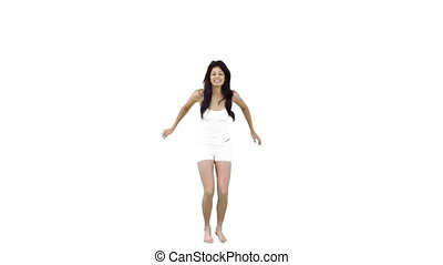 Woman jumping in the air in slow motion