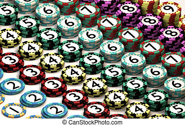 Casino Chip Stacked In Pattern of Quantity Order - 9...