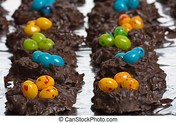 Two rows of candy bird nests - Two rows of coconut candy...