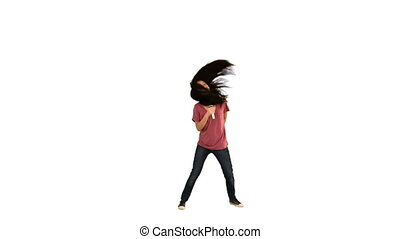 Woman singing in slow motion against a white background