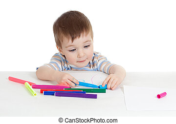 little smiling child with color felt pen over white