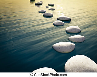 step stones sunset - An image of some nice step stones in...