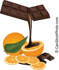 Fruit to chocolate - Orange slices with chocolate