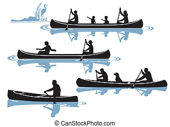 canoeing isolated on white