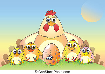 chickens - Cartoon chickens and eggs, illustration, postcard