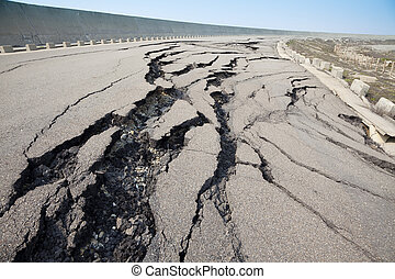 cracked road after earthquake