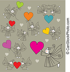 set vector elves with hearts