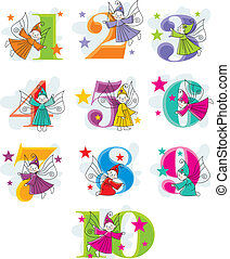 funny cartoon numbers with elves - set vector funny cartoon...