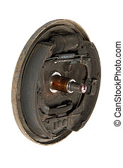 Old brake pads and cylinder brake drum (isolated) - Old...