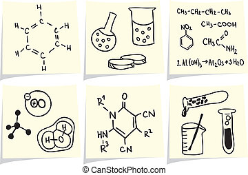 Chemistry and biology icons and formulas on yellow memo...