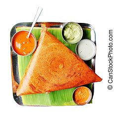 South indian breakfast dosa in golden brown color - Popular...