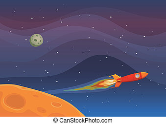 Spaceship Travel In Space - Illustration of a rocket...