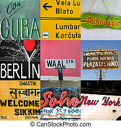 World travel signs - Composition of world travel signs in...