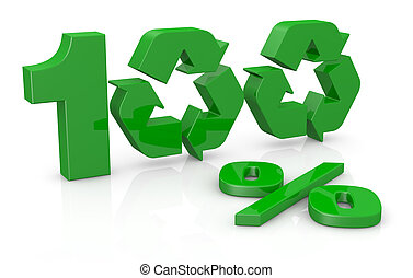 100 percent recycling concept - the number 100 with the...