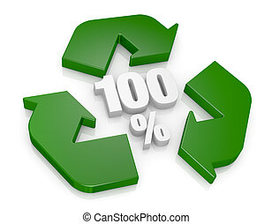 100 percent recycling concept - top view of a recycling...